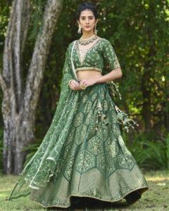 Green Banarasi Lehenga