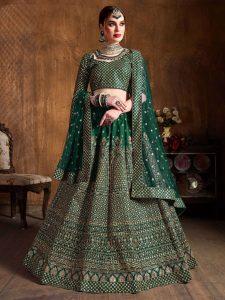 Green Silk Lehenga