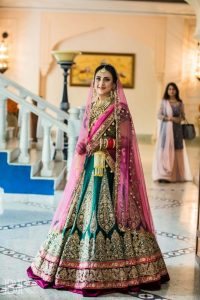 Green Bridal Lehengas with Pink Touch