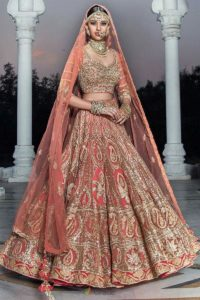Heavy Worked Orange Lehenga for Brides