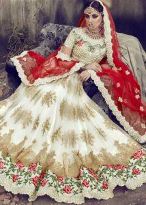 Off White and Red Bridal Lehenga