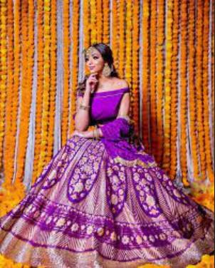 Purple Banarasi Lehenga