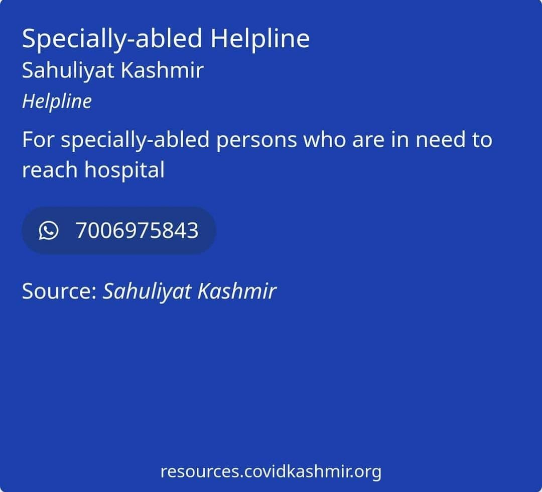 Specially-abled Helplines