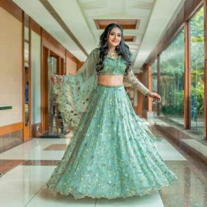 Turquoise Lehenga with Gold Sequins