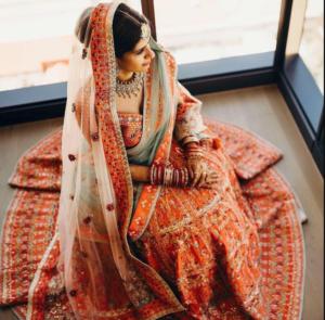 Unique Orange Color Bridal Lehenga