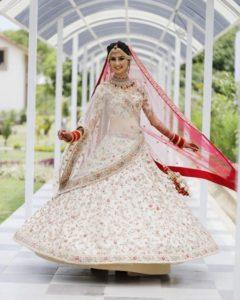 White Lehenga Wedding with Red Dupatta