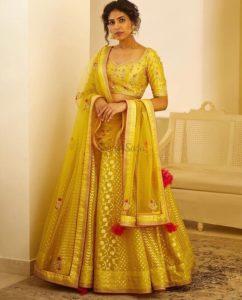 Yellow Banarasi Lehenga