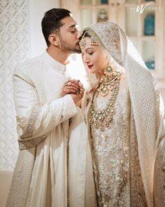 gauahar white wedding outfit