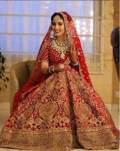 Bridal Lehenga in Red and Golden Colour