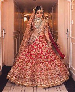 Heavy Border Bridal Lehenga Red Colour