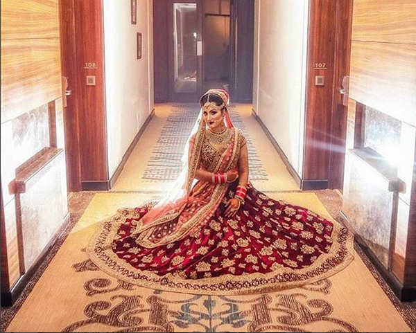 Bridal Lehengas In Blood Red Color