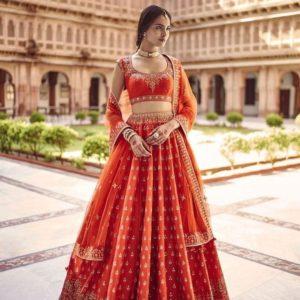 Dark Orange Lehenga for Wedding