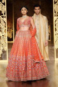 Designer Orange Wedding Lehenga