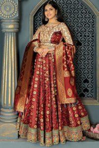 Maroon Bridal Banarasi Lehenga