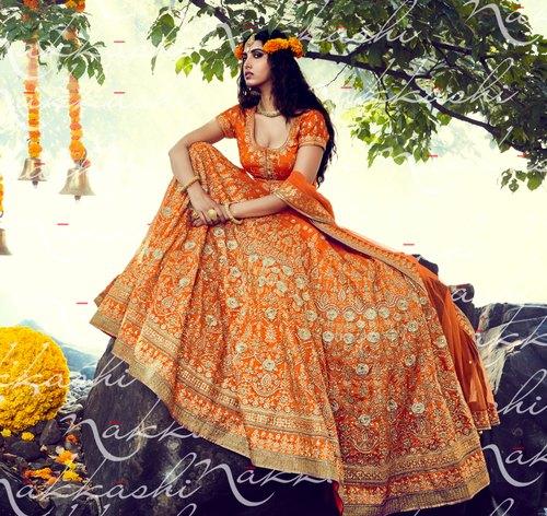 Orange Color Bridal Lehenga