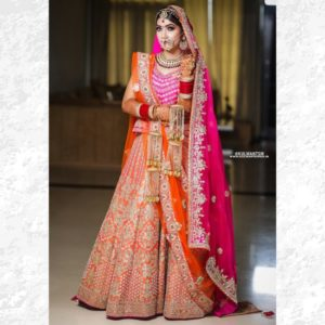 Orange Pink Bridal Lehenga