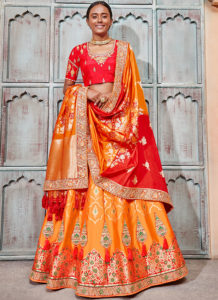 Orange Red Bridal Lehenga