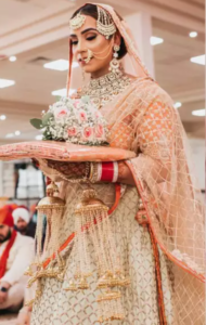 Orange and Gold Color Lehenga for Wedding