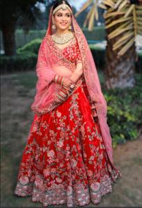 Red And Pink Bridal Lehenga