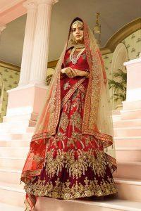 Red Maroon Bridal Lehenga