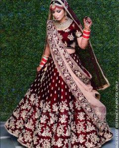 Red Wine Color Bridal Lehenga
