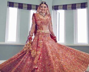 Shimmery Red Lehenga Bridal Look