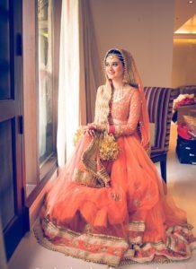 Wedding Lehenga Orange Color with 3 4th Sleeves