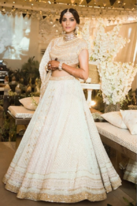 White and Gold Bridal Lehenga