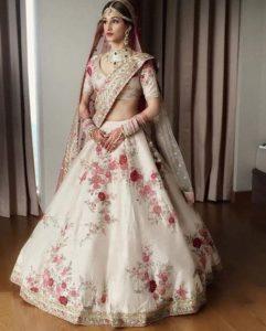 White and Red Bridal Lehenga