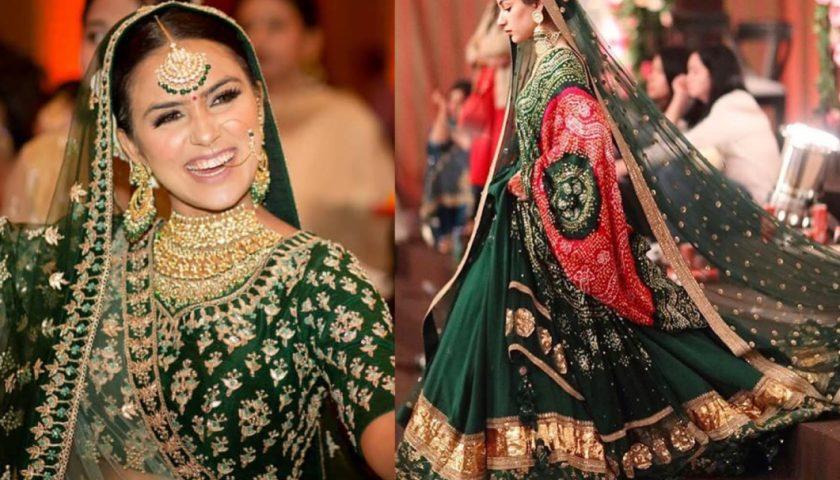 green bridal lehenga
