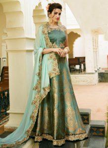 turquoise banarasi silk lehenga