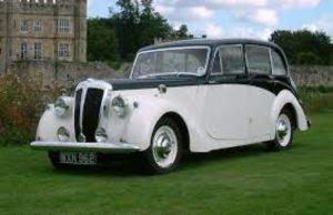 vintage car wedding entry