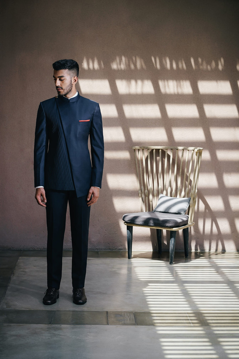 asymmetric and pintuck Jodhpuri Suits for Wedding