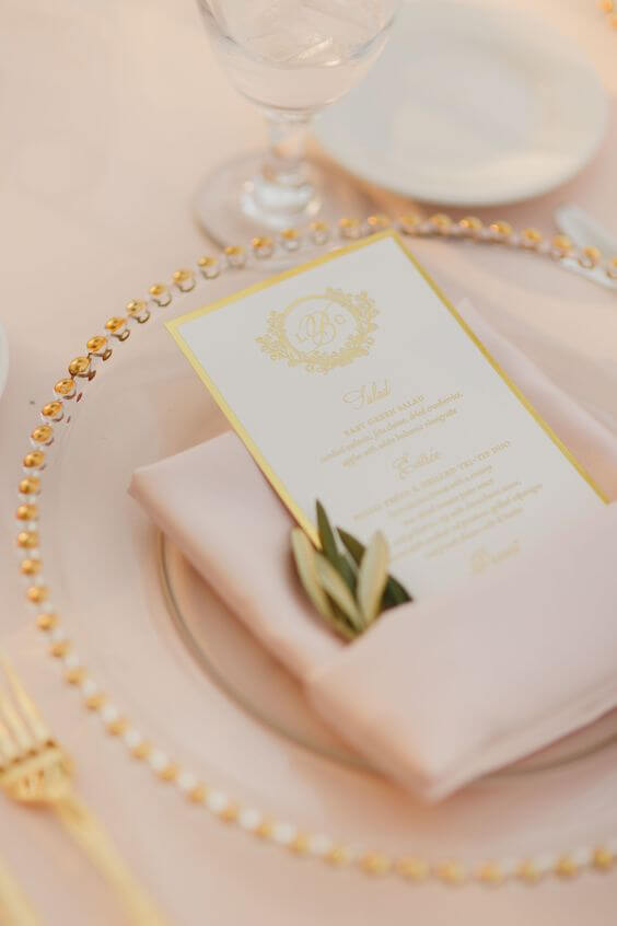 foil gold and champagne theme wedding colors